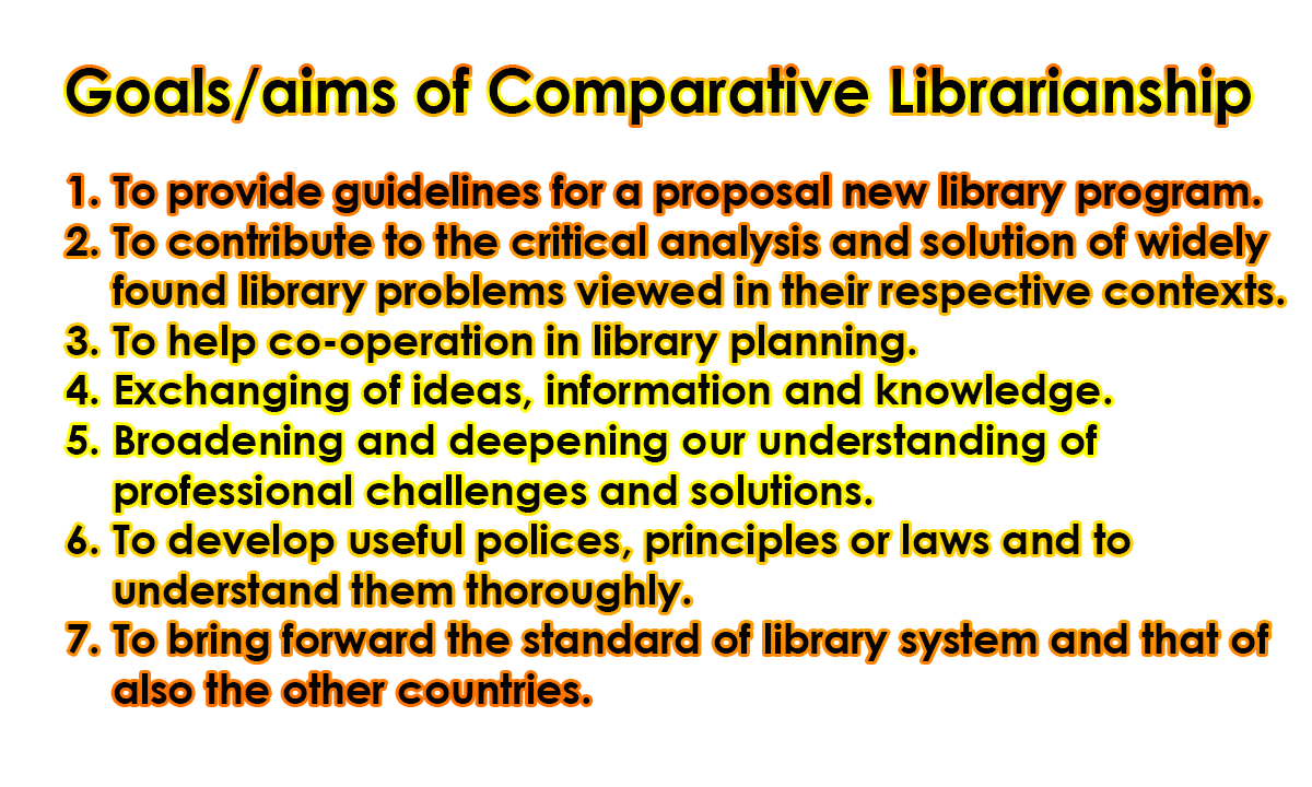 Goals or Aims of Comparative Librarianship - Comparative Librarianship   Definition, Types, Goals/aims, Benefits, Factors &  Difference between Comparative & International Librarianship