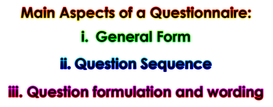 Questionnaire | Main Aspects of Questionnaire | Merits of Questionnaire | Demerits of Questionnaire