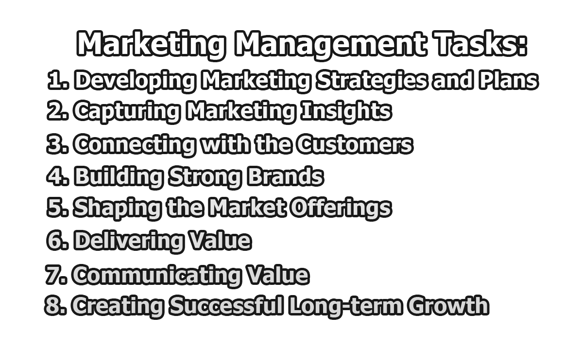 Marketing Management Tasks