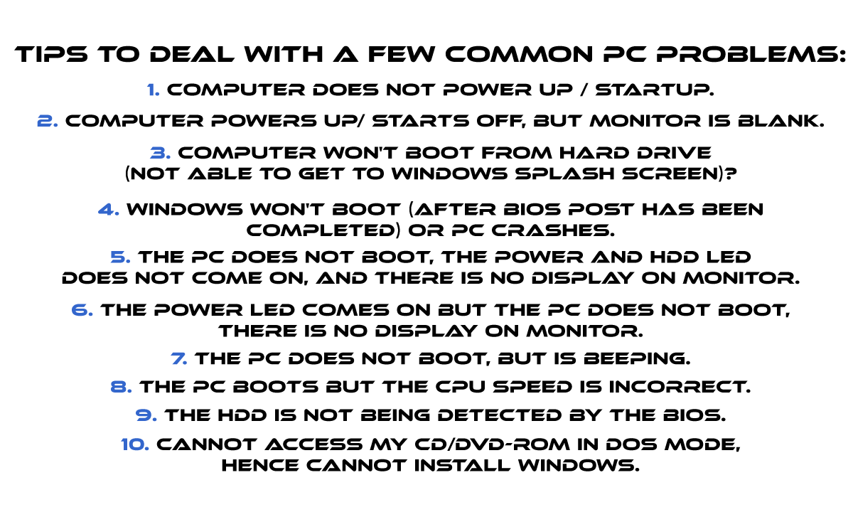 Figure: Tips to Deal with a Few Common PC Problems