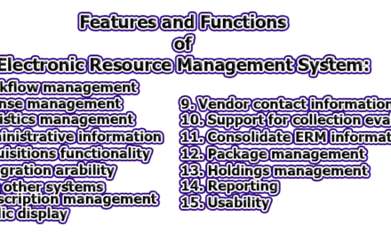 Features and Functions of Electronic Resource Management System